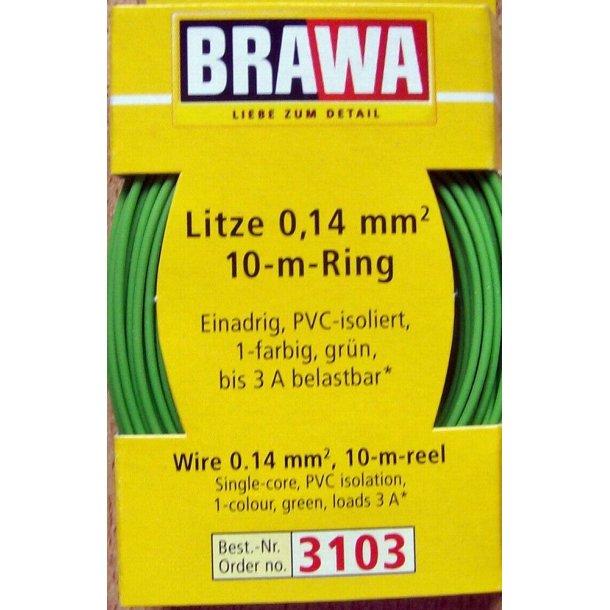 Brawa 3103 ledning grøn 10 meter 0,14 mm