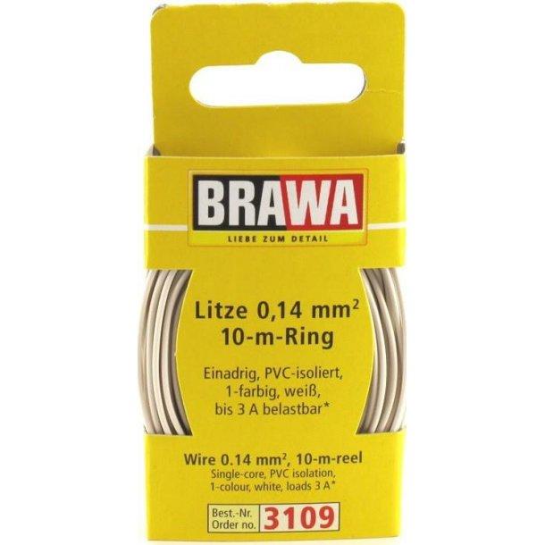 Brawa 3109 ledning hvid 10 meter 0,14 mm