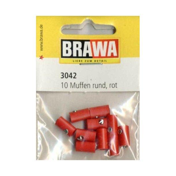Brawa 3042 hun muffer rød 10 stk. Ø 2,5 mm