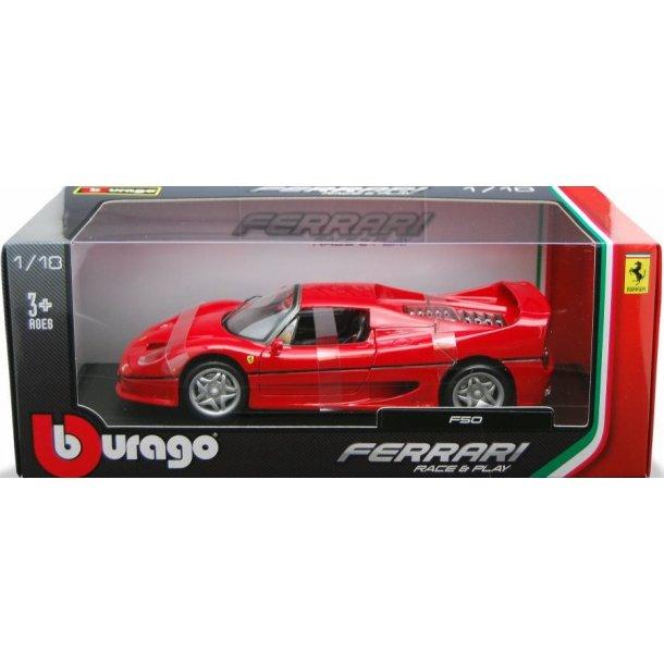 Burago 16004 Ferari F50 rød. Scala 1:18 i metal bygget