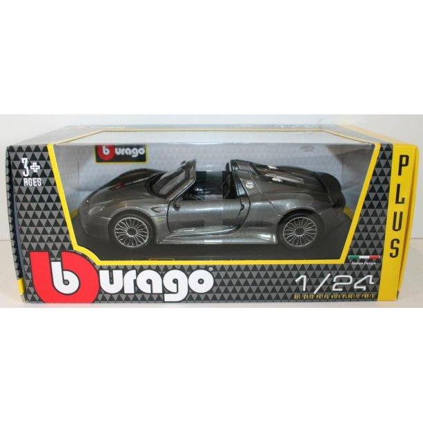 Burago 21076 Porsche 918 Spyder metal grå