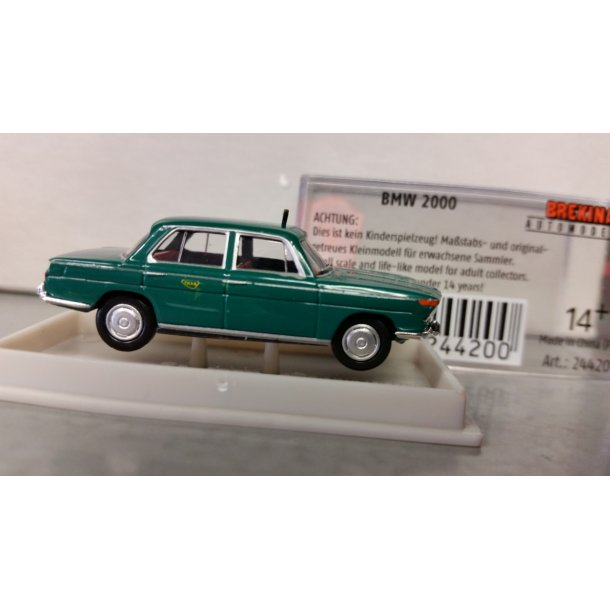 Brekina HO 24420 BMW 2000 Dansk Taxa grøn