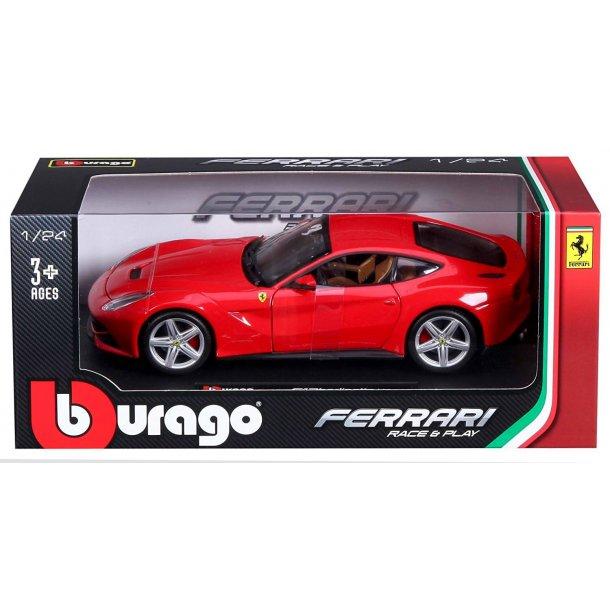 Burago 26007 Ferrari F12 Berlinett rød metal bygget Scala 1:24