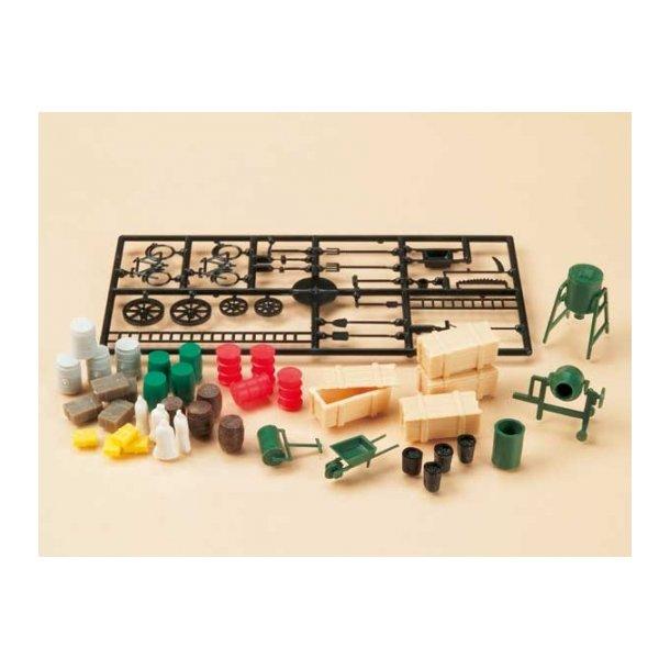 Auhagen HO 42556 Tilbehør sæt Træ kasser med låg, melsække, Tønder, bulksilo, små værktøjer 59 dele