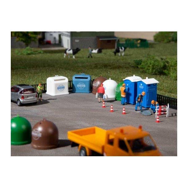 Auhagen HO 42593 Mobile toiletter, genbrugs container til tøj, flaske container til genbrug