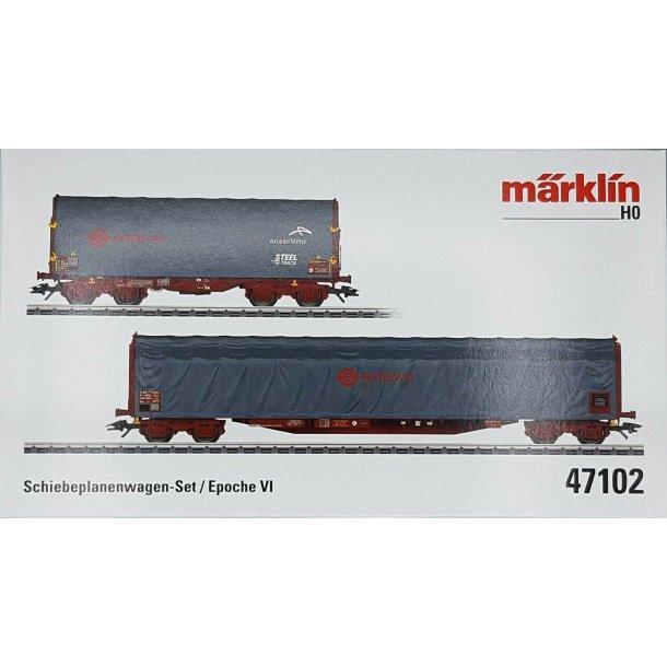 Märklin 47102 PRIVAT presenningvognsæt Bauart Rils. Firma Ermewa