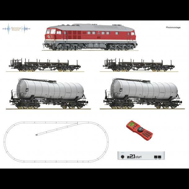 Roco HO 51328 DR startsæt diesellok BR 142 og 4 godsvogne. Digital med loksound med Henning-Sound