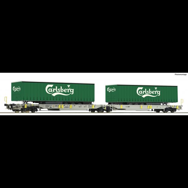 Roco HO 76432 AAE dobbelt containervogn Sdggmrs/T2000 med 2 trailer fra Carlsberg Nyhed 2019